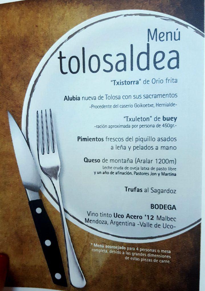 Menu tolosaldea Sagardi